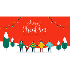 merry christmas card diverse people singing vector image