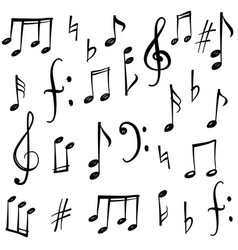 Music notes signs set hand drawn music symbol vector
