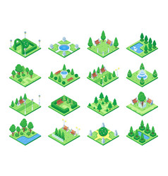 nature forest elements plants symbol and green vector image