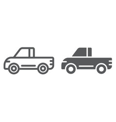 pickup line and glyph icon van and auto car sign vector image