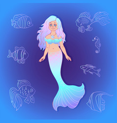 Pretty mermaid with sea fishes cartoon style vector
