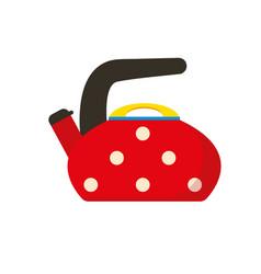 Red kettle polka dot teapot flat vector