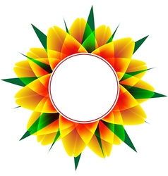 round frame with sunflower and leafs vector image