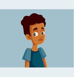 Sad african teenage boy vector