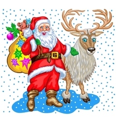 Santa Claus with bag of gifts and reindeer vector image