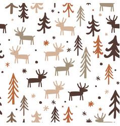 seamless pattern with herd of deer in fir trees vector image