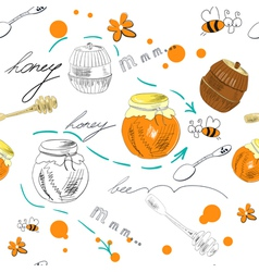 Seamless wallpaper with jar of honey vector