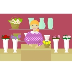 Seller in flower shop vector