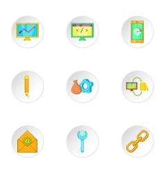 SEO promotion icons set cartoon style vector