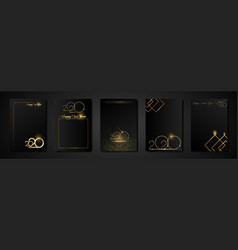 Set cards 2020 happy new year gold texture golden vector