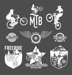 Set of mountain bike badges vector