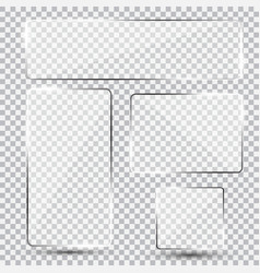 set of shiny glass plate vector image