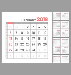 set planners january 2019 twelve months flat vector image
