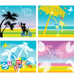Set summer travel and vacations pictures vector