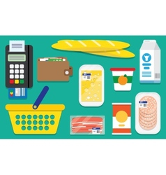 Set supermarket icons vector