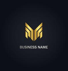 shape line m initial gold logo vector image