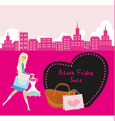 Shopping woman - Black Friday Sale card vector image
