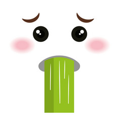 Sick face emoticon kawaii style vector