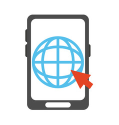 Smartphone world click work flat style icon vector