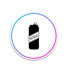 soda can icon isolated on white background circle vector image