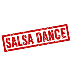 square grunge red salsa dance stamp vector image