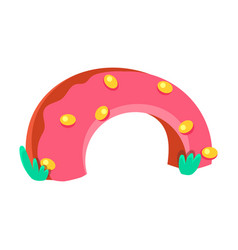 Strawberry doughnut half bridge fairy tale candy vector