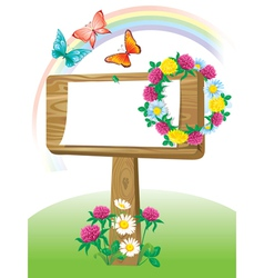 Summer wooden notice board vector image vector image
