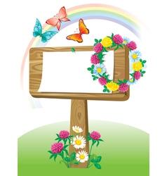 Summer wooden notice board vector