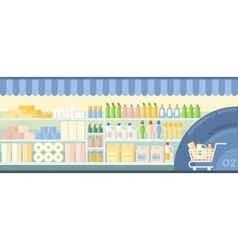 Supermarket showcase with household essentials vector