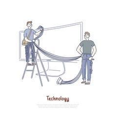 Technicians connecting wires and cables smart tv vector
