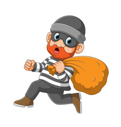 Thief with mask is running to get a way vector