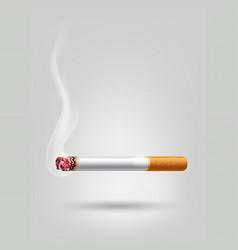 Tobacco cigarette burning for advertisement vector