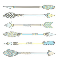 tribal indian arrow set colorful ethnic hand draw vector image