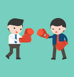 two businessman fighting with boxing gloves flat vector image