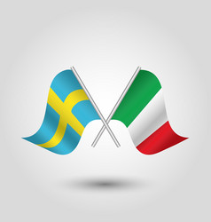 two crossed swedish and italian flags vector image