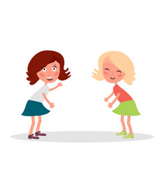 Two girlfriends having fun standing and smiling vector
