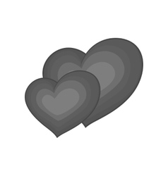 Two hearts icon black monochrome style vector