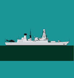 Type 45 daring class guided missile destroyer vector