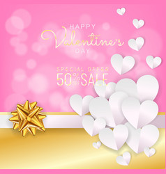 valentines day sale background discount card vector image