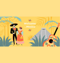 Welcome to mexico banner cute couple vector