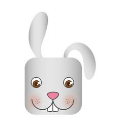 white cute rabbit head cartoon vector image
