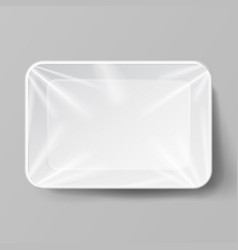 white empty blank styrofoam plastic food tray vector image