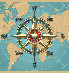 wind rose compass retro vector image