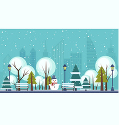 Winter public city park vector