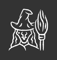 Witch chalk icon wicked sorceress hag vector