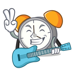 with guitar alarm clock mascot cartoon vector image