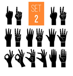 Woman hands showing gesture glyph icons set vector