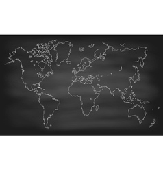 World map contour chalkboard blackboard vector