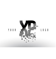 Xp x p pixel letter logo with digital shattered vector