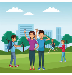 young people and smartphone vector image